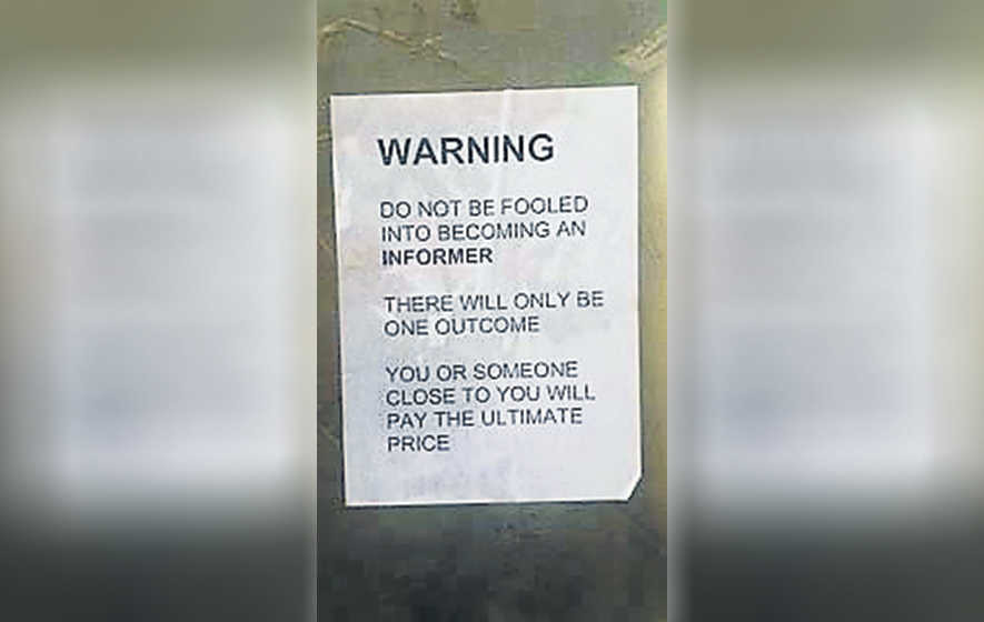 Threats to 'informers' posted in loyalist estate