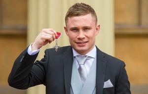 Boxer Carl Frampton receives an MBE at Buckingham Palace