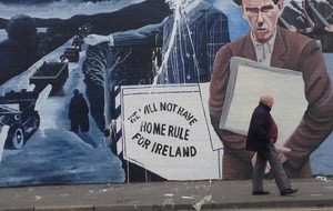 West Belfast 1916 mural featuring Edward Carson attacked with paint