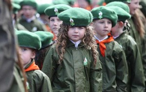 Thousands line Falls Road for main Easter Rising centenary parade in Belfast