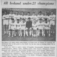Adrian McGuckin recalls Derry's All-Ireland U21 final triumph
