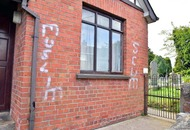 Anti-muslim graffiti spray painted on a house in Dungannon