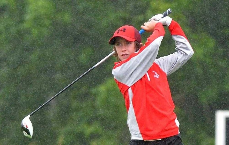 Young golfer Tom McKibbin flying the flag for my alma mater