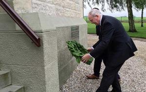 McGuinness lays wreath at site World War I battle