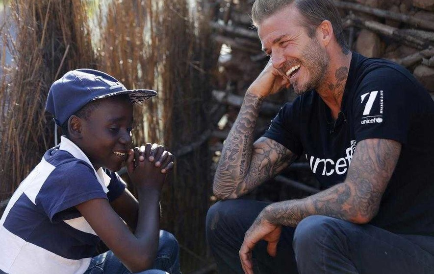 David Beckham visits children with HIV and Aids in Swaziland