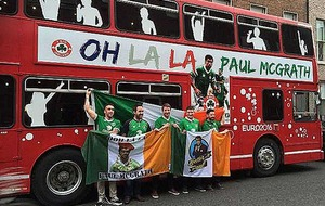 Irish fans spruce up double-decker for trip to France