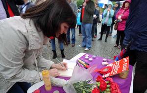 Crowds brave rain in Belfast at vigil for murdered MP Jo Cox