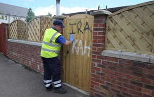 Sectarian graffiti daubed on church and homes in west Belfast