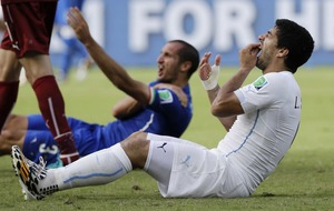 On This Day, June 26, 2014: Luis Suarez banned from all football activity for four months after biting Italy defender Giorgio Chiellini in the World Cup