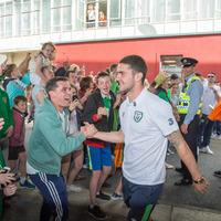 Fans hail Republic of Ireland Euro 2016 soccer heroes on return home to Dublin