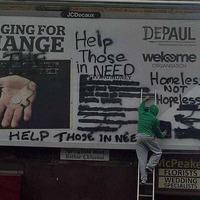 Anti begging advert defaced in west Belfast