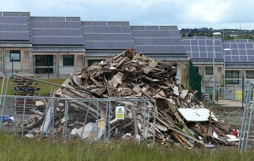 Bonfire built at new social housing site in Carryduff