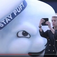 Giant Ghostbusters' Marshmallow Man invades Waterloo station