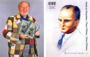 Brother of Flann O'Brien painted his portrait on stamp