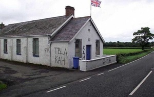 Sectarian graffiti sprayed on Orange Hall in Crumlin