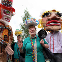 Carnival atmosphere on Falls Road for annual Féile parade