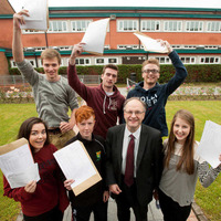A-level pupils celebrate achieving top grades