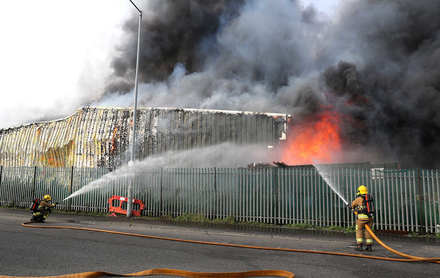 75 firefighters tackle huge blaze at west Belfast recycling plant