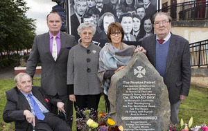 John Hume unveils memorial in Derry to Bishop Edward Daly