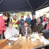 Arlene Foster joins protest in Belleek against bank closure