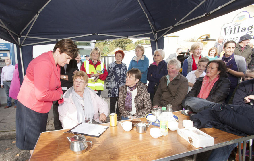 Arlene Foster joins protest in Belleek against bank closure