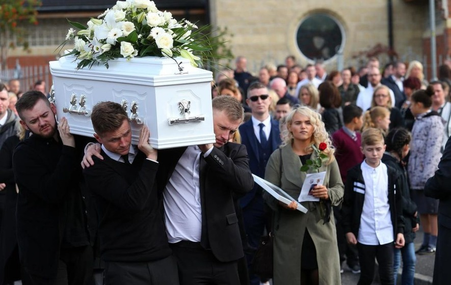 Mourners gather in west Belfast for funeral of 11-year-old Leon Carlisle