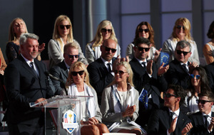 Alison Clarke leads Team Europe's wives and girlfriends at the Ryder Cup