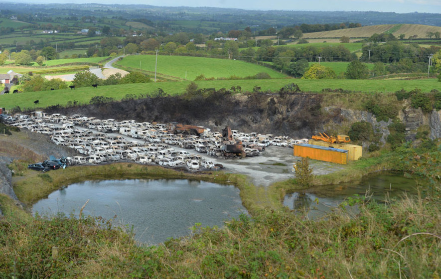 Fire which destroyed 300 cars in Keady breaker's yard being treated as suspicious