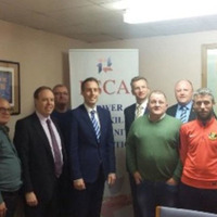 DUP delegation pictured at Shankill office hours after Spotlight UDA claims