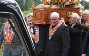 Orangemen in tribute to grand secretary Drew Nelson at Co Down funeral