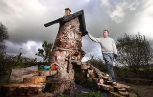 Co Antrim artist Sean McKeown turns tree stumps into fairy village