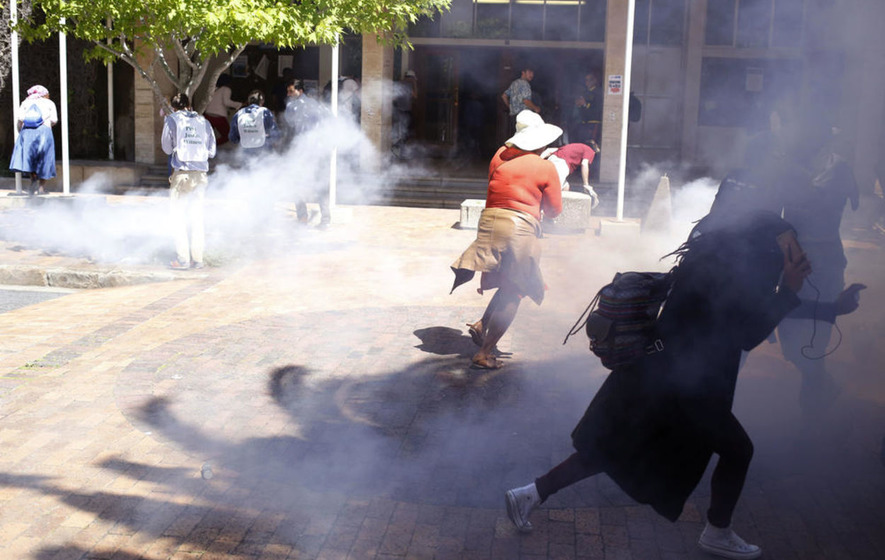 Police fire stun grenades at free university demonstration in South Africa