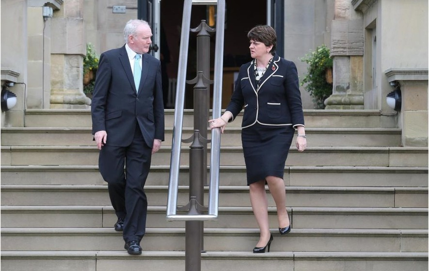 First Minister Arlene Foster and Deputy First Minister Martin McGuinness congratulate Donald Trump