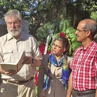 Fidel Castro support for Hunger Strike displayed on monument in Havana