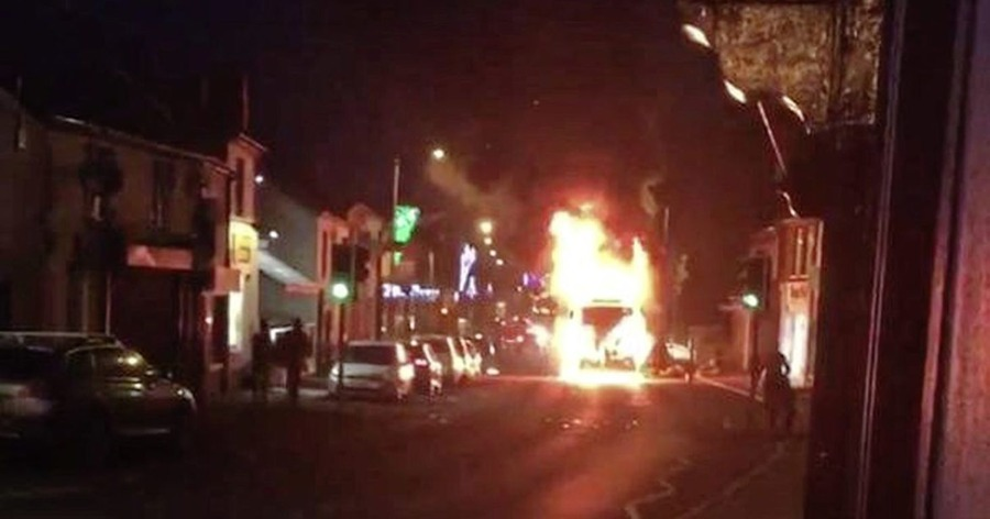 Video Lorry Bursts Into Flames On Main Street In