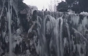 One of the tallest waterfalls in Europe is starting to ice over and it's all kinds of beautiful