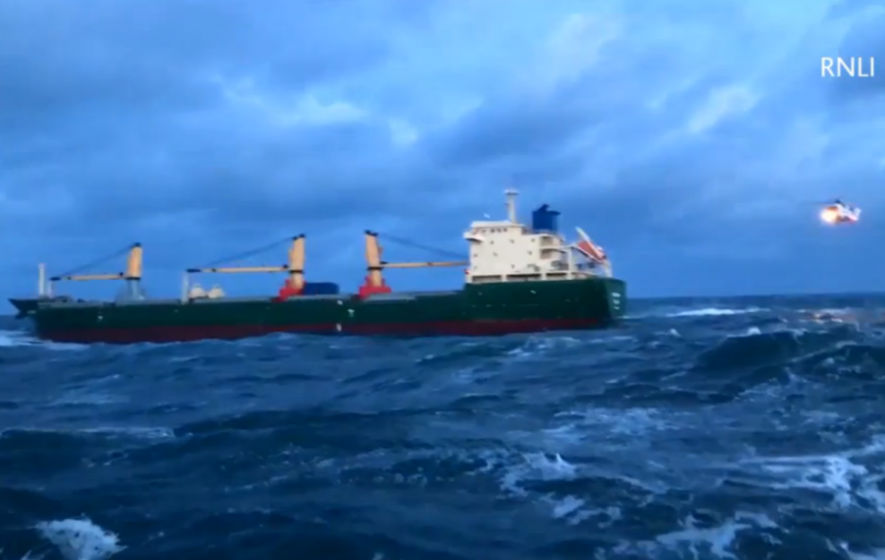 Watch the moment a sick seaman is winched to safety in these stormy sea conditions