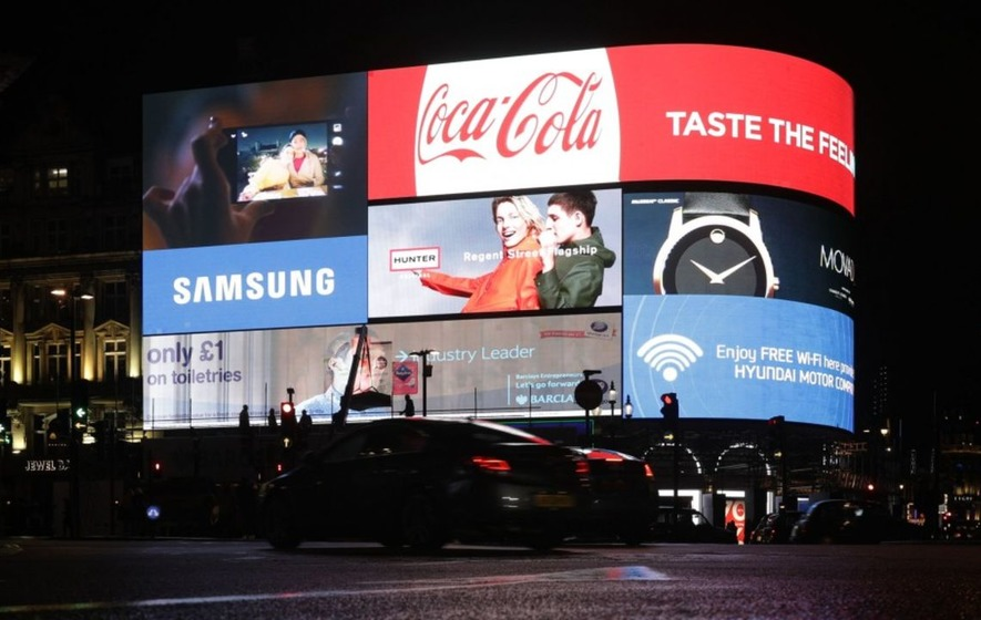 The Piccadilly Circus lights have been switched off and it just looks kind of wrong