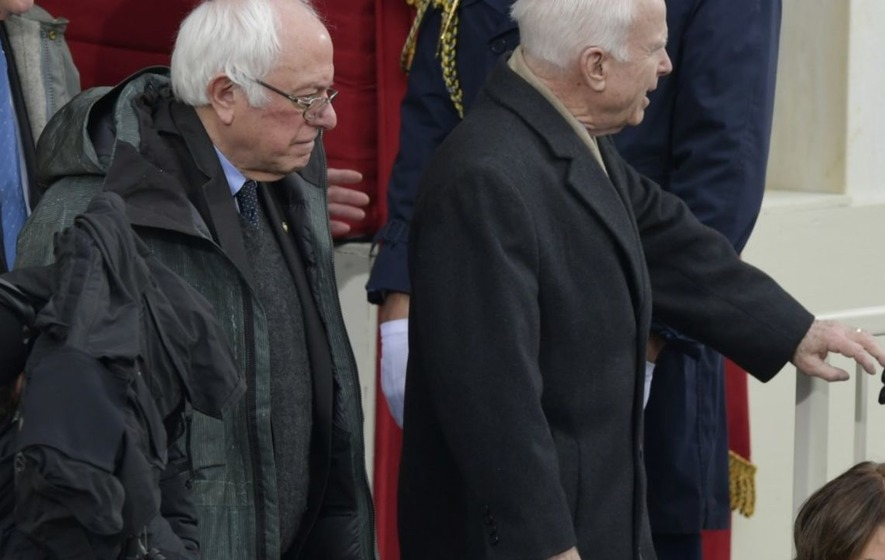 Bernie Sanders turned up to Donald Trump's inauguration in a practical raincoat and it just looks so comfy