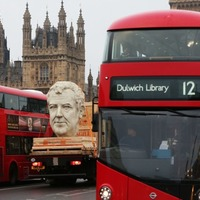 Commuters were a little confused after an 8ft Jeremy Clarkson bust was paraded through London
