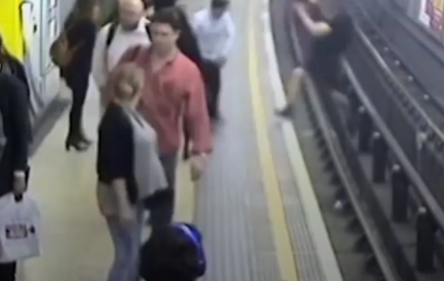 Watch the shocking moment a man was pushed onto the Tube tracks