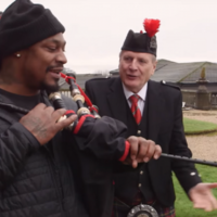Watch: Marshawn Lynch hands out Skittles in Houston, Scotland to hype up the Super Bowl - obviously
