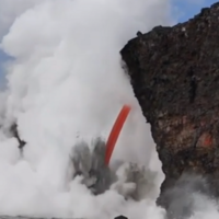 Video: Awesome footage shows 'firehose' lava stream pouring into the ocean off Hawaii