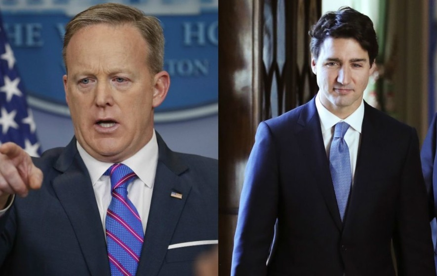 Sean Spicer appeared to call Justin Trudeau 'Joe Trudeau' - and of course Twitter noticed