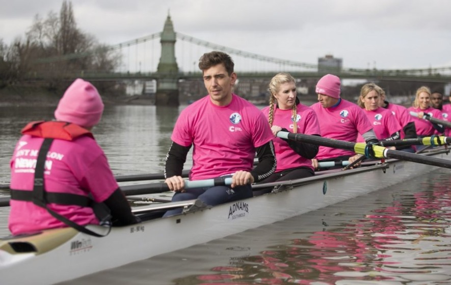 Ore Oduba, Harry Judd and Vernon Kay are making a splash in the first Celebrity Boat Race