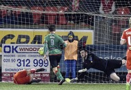 Daniel Hughes rescues a point for Cliftonville against Glentoran at Solitude
