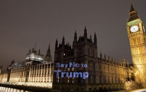 Houses of Parliament emblazoned with huge 'No To Trump' projection