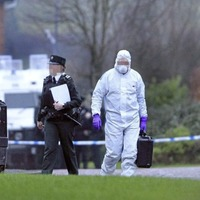 Attempt to recover bomb fragments in Catholic officer attack