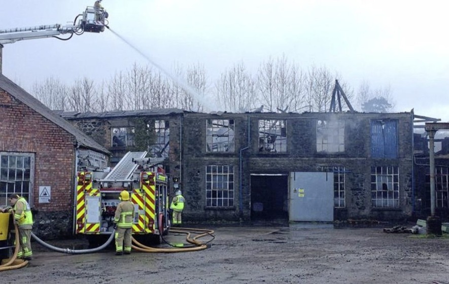 Fire at William Clark and Sons Maghera linen mill