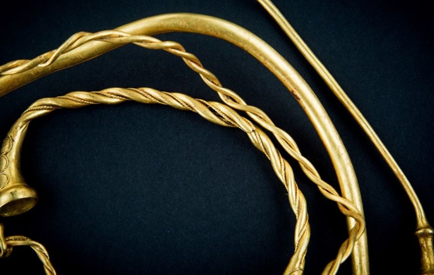 Some valuable ancient gold jewellery has been found on farmland in Staffordshire